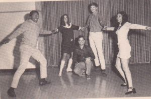 "The Okinawa Choral Society Dancers (left to right: me, Gini Ashby, Terry Morella, Bill Clark and Connie Garza, doing the ""Jingle Bells Calypso"" for our Christmas concert in 1971))"